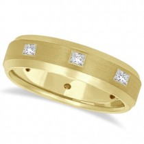 Princess-Cut Diamond Ring Men's Wedding Band 14k Yellow Gold (0.50ct)