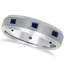 Princess-Cut Sapphire Ring for Men Wedding Band Palladium (0.80ct)