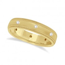 Mens Engraved Diamond Wedding Ring Band 18k Yellow Gold (0.15ct)