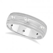 Mens Engraved Diamond Wedding Ring Wide Band 14k White Gold (0.35ct)