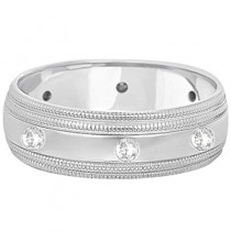 Mens Engraved Diamond Wedding Ring Wide Band 14k White Gold (0.35ct)|escape