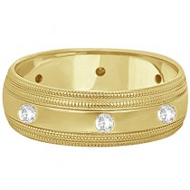 Mens Engraved Diamond Wedding Ring Wide Band 18k Yellow Gold (0.35ct)