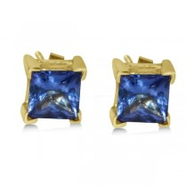 Blue Sapphire Stud Earrings in 14k Yellow Gold (2.03ct)