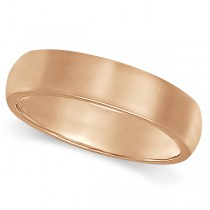 Dome Comfort Fit Wedding Ring Band 14k Rose Gold (5mm)
