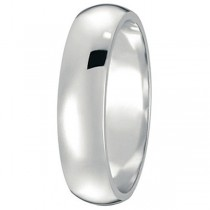 Dome Comfort Fit Wedding Ring Band 14k White Gold (5mm)