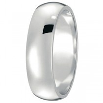 Dome Comfort Fit Wedding Ring Band 14k White Gold (6mm)