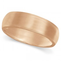Dome Comfort Fit Wedding Ring Band 18k Rose Gold (6mm)