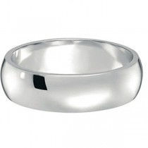Dome Comfort Fit Wedding Ring Band 18k White Gold (6mm)