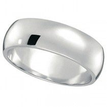 Dome Comfort Fit Wedding Ring Band 18k White Gold (7mm)