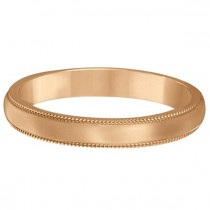 14k Rose Gold Wedding Band Dome Comfort-Fit Milgrain (3mm)