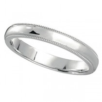 14k White Gold Wedding Band Dome Comfort-Fit Miligrain (3mm)