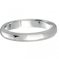 14k White Gold Wedding Band Dome Comfort-Fit Miligrain (3mm)|escape