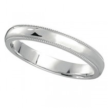 18k White Gold Wedding Band Dome Comfort-Fit Milgrain (3mm)