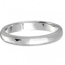 18k White Gold Wedding Band Dome Comfort-Fit Milgrain (3mm)|escape