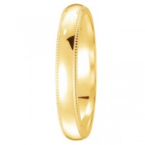 18k Yellow Gold Wedding Band Dome Comfort-Fit Milgrain (3mm)