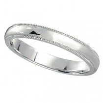950 Platinum Wedding Band Dome Comfort-Fit Milgrain (3mm)