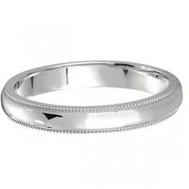 950 Platinum Wedding Band Dome Comfort-Fit Milgrain (3mm)
