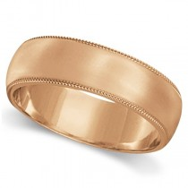 Men's Wedding Band Dome Comfort-Fit Milgrain 14k Rose Gold (5 mm)