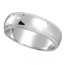 Men's Wedding Band Dome Comfort-Fit Milgrain 18k White Gold (5 mm)