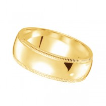 Men's Wedding Ring Dome Comfort-Fit Milgrain 18k Yellow Gold (5 mm)