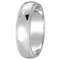Men's Wedding Band Dome Comfort-Fit Milgrain 950 Platinum (5 mm)