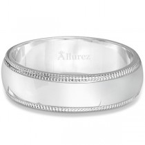 Men's Wedding Band Dome Comfort-Fit Milgrain 18k White Gold (6 mm)|escape