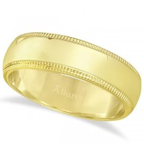 Men's Wedding Band Dome Comfort-Fit Milgrain 18k Yellow Gold (6 mm)