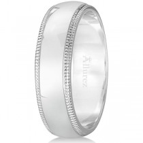 Men's Wedding Band Dome Comfort-Fit Milgrain 950 Palladium (6 mm)
