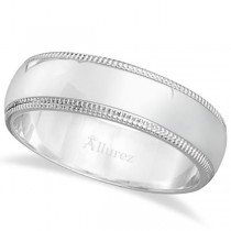 Men's Wedding Band Dome Comfort-Fit Milgrain 950 Platinum (6 mm)