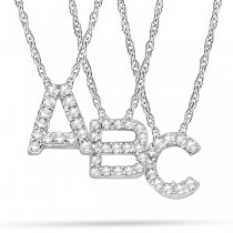 Petite Pave Diamond Initial Pendant Necklace 14k White Gold