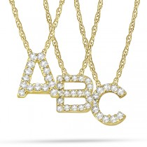 Petite Pave Diamond Initial Pendant Necklace 14k Yellow Gold
