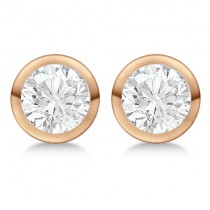 Round Diamond Stud Earrings Bezel Setting In 14K Rose Gold