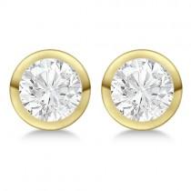 Round Diamond Stud Earrings Bezel Setting In 14K Yellow Gold