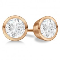 Round Diamond Stud Earrings Bezel Setting In 18K Rose Gold