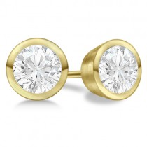 Round Diamond Stud Earrings Bezel Setting In 18K Yellow Gold
