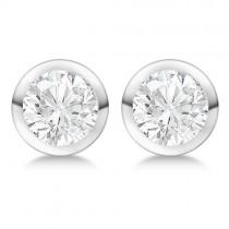 Round Diamond Stud Earrings Bezel Setting In Palladium
