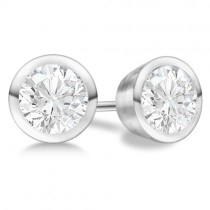 Round Diamond Stud Earrings Bezel Setting In Platinum