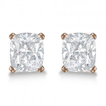 Cushion Diamond Stud Earrings Basket Setting In 14K Rose Gold