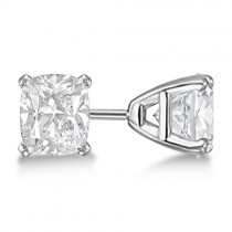 Cushion Diamond Stud Earrings Basket Setting In 18K White Gold