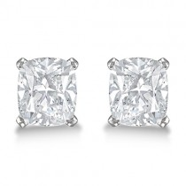 Cushion Diamond Stud Earrings Basket Setting In Palladium