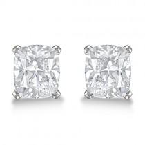 Cushion Diamond Stud Earrings Basket Setting In Platinum