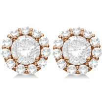 Round Diamond Stud Earrings Halo Setting In 14K Rose Gold