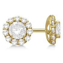 Round Diamond Stud Earrings Halo Setting In 18K Yellow Gold