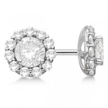 Round Diamond Stud Earrings Halo Setting In Platinum