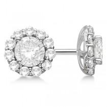 Round Diamond Stud Earrings Halo Setting In Platinum