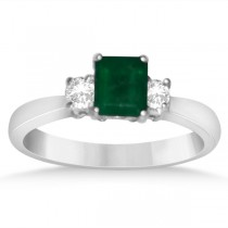Diamond Accented Emerald Engagement Ring in 14k White Gold (0.92ct)