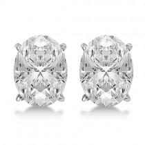 Oval Diamond Stud Earrings 4-Prong Basket Setting In 14K White Gold