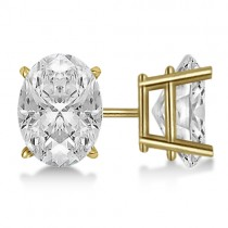 Oval Diamond Stud Earrings 4-Prong Basket Setting In 14K Yellow Gold