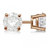 Round Diamond Stud Earrings 4-Prong Basket Setting In 14K Rose Gold