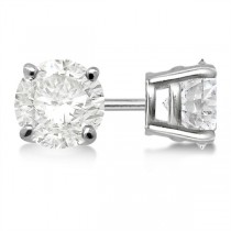 Round Diamond Stud Earrings 4-Prong Basket Setting In 18K White Gold